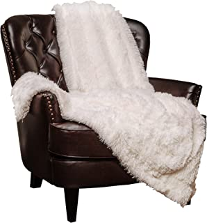Chanasya Shaggy Longfur Faux Fur Throw Blanket - Fuzzy Lightweight Plush Sherpa Fleece Microfiber Blanket - for Couch Bed Chair Photo Props (60x70 Inches) White