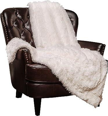 "Chanasya Super Soft Shaggy Longfur Throw Blanket | Snuggly Fuzzy Faux Fur Lightweight Warm Elegant Cozy Plush Sherpa Fleece Microfiber Blanket | for Couch Bed Chair Photo Props - 50""x 65"" - White"