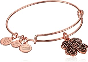 Alex and Ani Women's Four Leaf Clover Rose Gold Charm Bangle Bracelet, Expandable