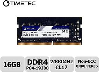 Timetec Hynix IC 16GB DDR4 2400MHz PC4-19200 Non ECC Unbuffered 1.2V CL17 2Rx8 Dual Rank 260 Pin SODIMM Laptop Notebook Computer Memory Ram Module Upgrade S Series (16GB)