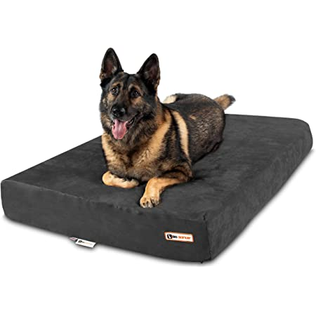 """Big Barker 7"""" Pillow Top Orthopedic Dog Bed - XL Size - 52 X 36 X 7 - Charcoal Gray - for Large and Extra Large Breed Dogs (Sleek Edition)"""