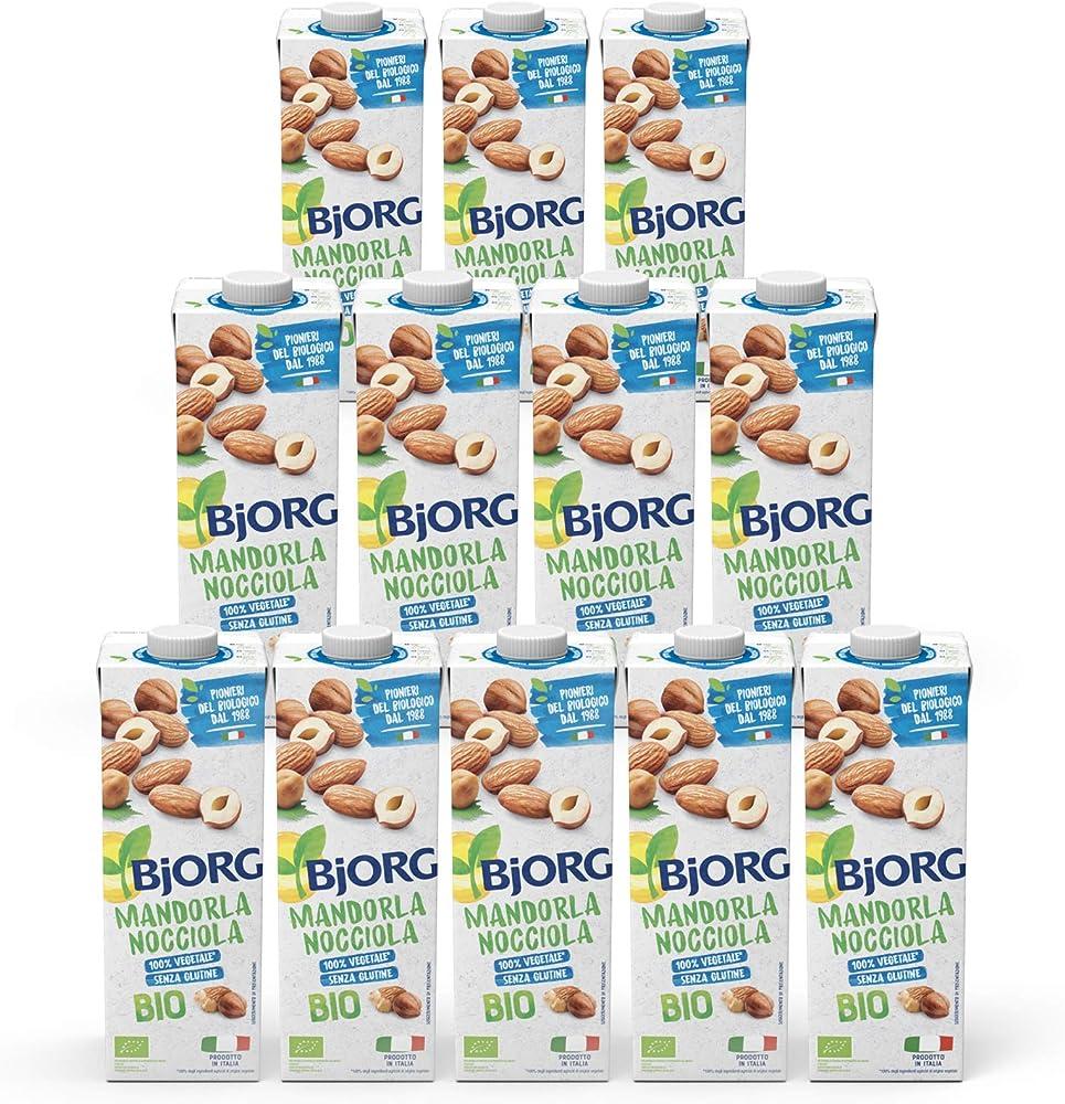 Bjorg bevanda 100 % naturale alle mandorle e nocciole bio 12 confezioini da 1 litro
