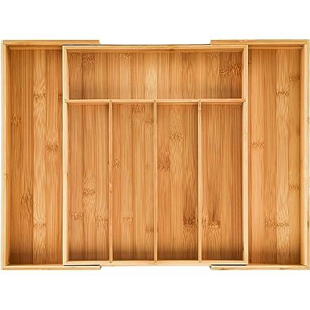 Plateau Couverts extensible en bambou et tiroir Insert Organiseur, 5 au 7 compartiments modulables (48.5 x 37 x 5 cm)