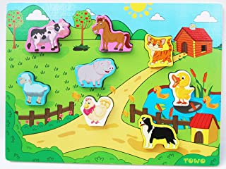 Wooden Farm Animal Puzzles for Toddlers- Farm Animals Peg Puzzles Chunky Size -Animals Puzzles for Toddlers - Baby Puzzle as Early Learning Toys