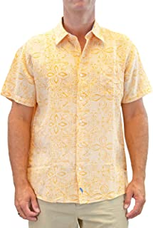 Men's Tropical Havana Tile Short-Sleeve Linen Cotton Blend Casual Button Down Shirt