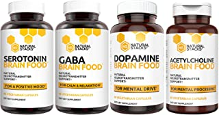 Natural Stacks: Brain Food Box - Brain Supplements -30 Day Supply - Dopamine, Serotonin, Acetylcholine, and GABA Brain Food - Improves Mood, Focus, Relaxation and Restorative Sleep
