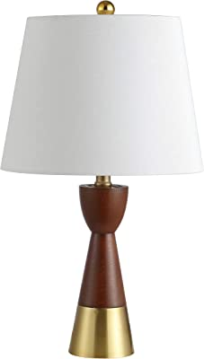 Safavieh Lighting Collection Renni Brown/Brass Gold 21-inch Bedroom Living Room Home Office Desk Nightstand Table Lamp (Set of 2) - LED Bulbs Included