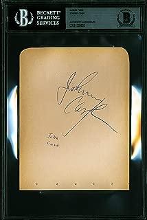 Johnny Cash Authentic Signed 4.5x6 Album Page Autographed BAS Slabbed