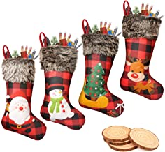 "BearFun Christmas Stockings, Large 4 Packs 18"" Xmas Stockings, Burlap Plaid Style Plush Faux Fur Cuff with Santa Snowman R..."