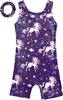 Gymnastics Leotards for Girls Sparkly Unicorn Outfits Matching Hair Scrunchie