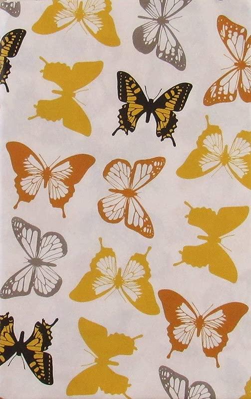 Butterflies Vinyl Flannel Back Tablecloth 52 X 52 Square
