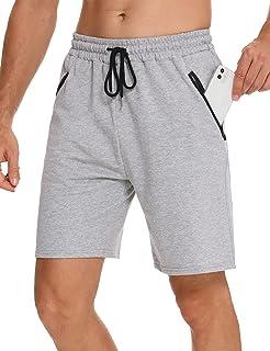 Wayleb Pantalones Cortos Deportivos Hombre Algodón Shorts Deportivos Bolsillo con Cremallera Bermuda Deporte de Running Co...