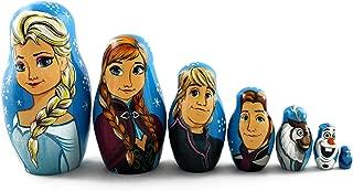 Matryoshka Russian Nesting Doll Babushka Beautiful Cartoon Characters Frozen Elsa Elza 7 Pieces Pcs Wooden Hand Painted Souvenir Craft Gift by MATRYOSHKA&HANDICRAFT