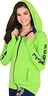 Lady 12 Seattle Team Color Women's Hoodie | Full Zip Fleece with Thumb Hole Sleeves