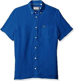 Men's Short Sleeve Solid Linen Button Down Collar Reg Fit Woven Shirt, CH4991