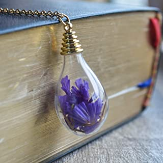 Purple Forget Me Not Real Flower Glass Waterdrop Pendant 18k Gold Plated Long Necklace