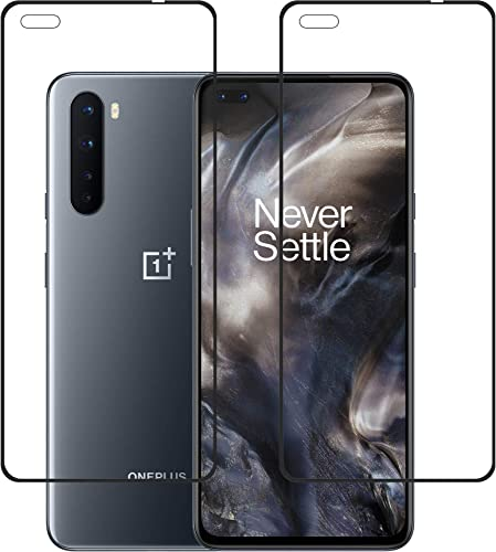Tough Lee Tempered Glass Guard For Oneplus Nord With Front Camera Cut And Perfect Sensor Cut Black Edge To Edge Full Screen Coverage With Easy Installation Kit Pack Of 2