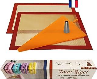 kit pâtisserie professionnel 2 tapis de cuisson silicone fibre de verre 40X30 anti adhérent certifié sans BPA ,1 poche réu...