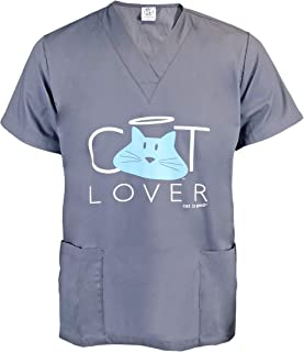 Dog is Good Cat Lover Unisex Scrub Top- Great Gift for Cat Lovers