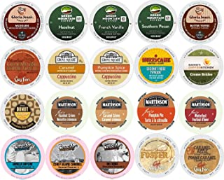 20-count K-cup for Keurig Brewers ALL FLAVORED Coffee Variety Pack Featuring Green Mountain, Gloria Jean's, Donut House, Grove Square Cappuccino, Authentic Donut House, Barnie's Coffee Kitchen, Hurricane, Martinson, Brooklyn Bean & Guy Fieri