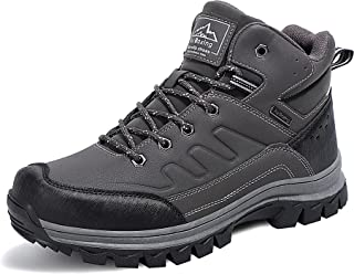Sponsored Ad - AX BOXING Mens Hiking Boots Winter Snow Boots Anti-Slip Leather Warm Shoes Fur Lined Outdoor Boots