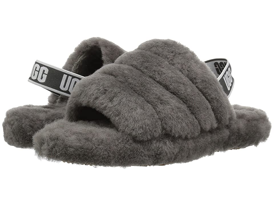 UGG Kids Fluff Yeah Slide (Little Kid/Big Kid) (Charcoal) Girls Shoes