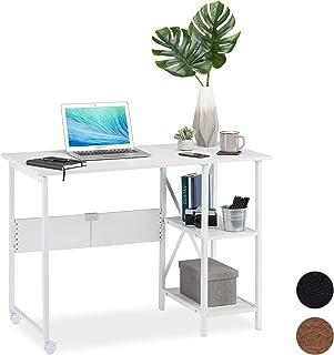 Relaxdays Bureau Pliable,Table Peu encombrante, 2 étagères, pour Travail à la Maison,Chambre d'ado, Choix de Couleurs, Pan...