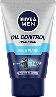 NIVEA Men Face Wash for Oily Skin, Oil Control Charcoal for Immediate Oil Control with Charcoal & Cooling Mint, 100 g