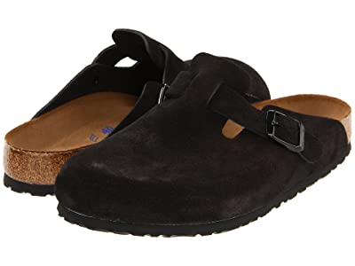 Birkenstock Boston Soft Footbed (Unisex) (Black Suede) Clog Shoes