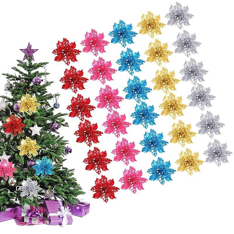 抽選けん引逸脱WILLBOND 30ピース 人工ポインセチア クリスマスツリーオーナメント 中空グリッター フェイクフラワー クリスマスツリー ウェディングパーティー ホームオフィス装飾