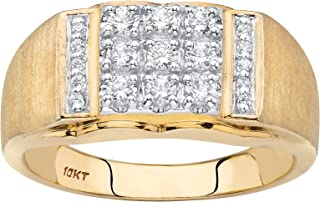 I2-I3 clarity; I-J color Jewels By Lux 10kt Yellow Two-tone Gold Mens Round Pave-set Diamond Diagonal Double Row Wedding Band 1//4 Cttw In Pave Setting