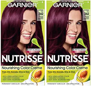 Garnier Nutrisse Nourishing Permanent Hair Color Cream, 362 Darkest Berry Burgundy (2..