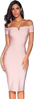 Meilun Women's Strapless Bodycon Dress Knee Length Off Shoulder Bandage Dress