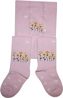 Weri Spezials Kinderstrumpfhose für Mädchen Sterne und Blümchen in Rosa Baumwolle