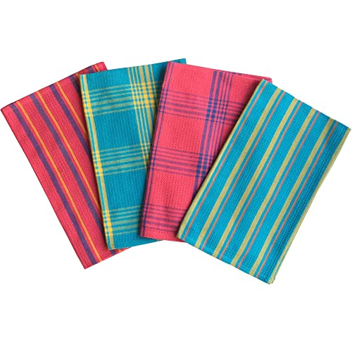 Lushomes Cotton Multi Color Waffle Kitchen Towels (Pack of 4)