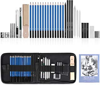 GHB 36Pcs Drawing Pencils Sketching Supplies Art Pencils with Erasers Portable Kit Bag Sketchpad