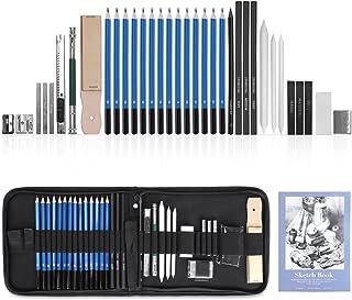 GHB 36PCS Crayons de Dessin Crayons Croquis Kit de Croquis Dessin avec Sac Inclus Gomme Crayon de Charbon Graphite Outils ...