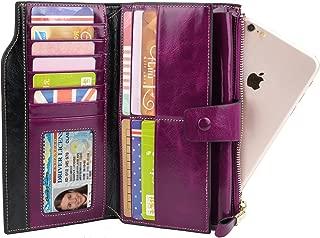 YALUXE Women's Large Leather Clutch Wallet Billfold Ladies Purse Card Holder Organizer Purple