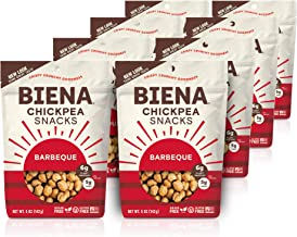BIENA Chickpea Snacks, Barbeque   Gluten Free   Vegan   Dairy Free   Plant-Based Protein (8 Pack)