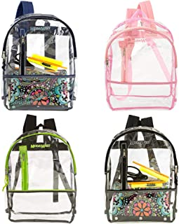 24 Pack - Wholesale 17 Inch Heavy Duty Clear Backpack with 4 Assorted Trims - Bulk Case of Transparent Stadium Approved Bookbags & Daypacks
