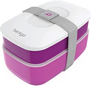 Bentgo Classic (Purple) - All-in-One Stackable Lunch Box Solution - Sleek and Modern Bento Box Design Includes 2 Stackable Containers, Built-in Plastic Silverware, and Sealing Strap