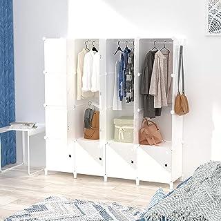 Armoire pour Vetement, DIY Armoire Plastique Chambre, Armoire Enfant Adultes, Assemblage Facile pour Vêtements, Accessoire...