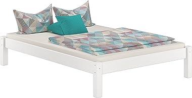 Erst-Holz Blanc lit futon pin 140x200, Design Moderne sans tête de lit y Compris sommier et Matelas 60.35-14WM