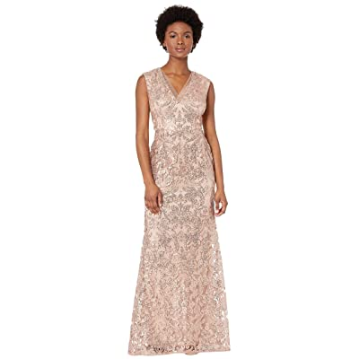 Adrianna Papell V-Neckline All Over Sequin Embroidery Modified Mermaid Gown (Rose Gold) Women
