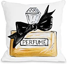 One Bella Casa Bow Perfume/Black Quilted Throw Pillow Cover by Timree Gold, 18x 18, White/Black