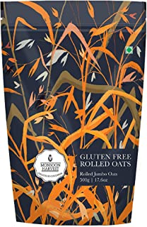 Monsoon Harvest Gluten-Free Jumbo Rolled Oats (500 g - Pack of 1) - High in Protein and Fibre, Wholegrain Oats