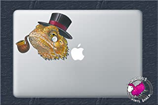 Bearded Dragon in a Top Hat Watercolor 4 Inch Color Vinyl Decal