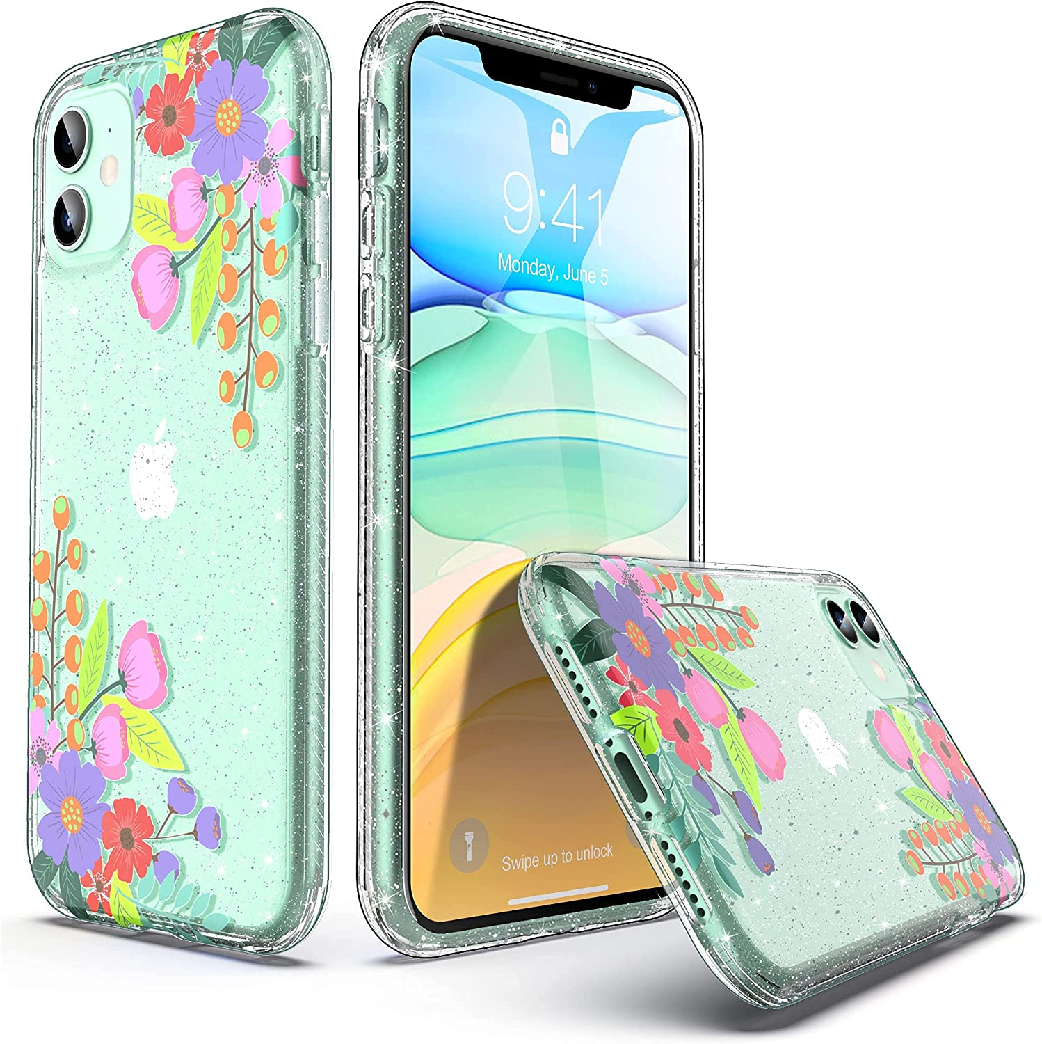 ULAK Compatible with iPhone 11 Case, Clear with Designed Hybrid Protective Phone Case Slim Anti-Scratch Shock Absorption TPU Bumper Cover for iPhone 11 6.1 inch (2019), Flower
