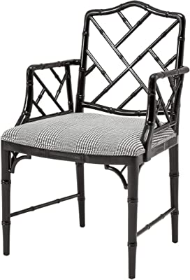 Amazon Com Dixon Upholstered Black Lacquered Bamboo Frame Dining Armchair Eichholtz Infinity Modern Oriental Chinese Chippendale Chair Luxury Kitchen Dining Room Furniture Chairs