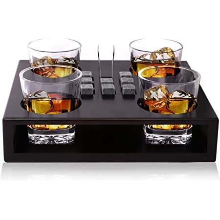 Bezrat Old Fashioned Whiskey Glasses Set - Includes 8 Whisky Chilling Stones and accessories on Wooden Tray – 4 Scotch Bourbon Glasses – Granite Chilling Rocks